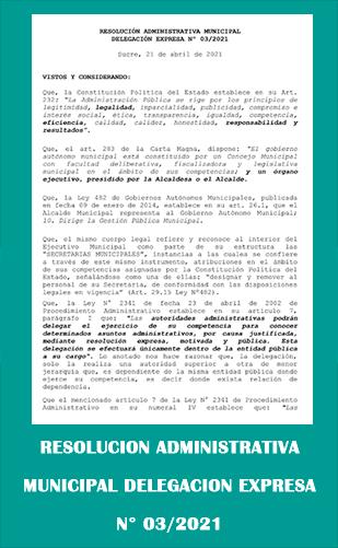 Resolución Administrativa 03 2021